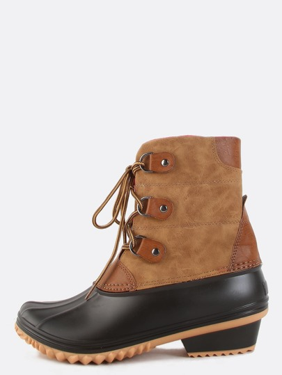 Fleece Lined Chunky Heel Boots TAN