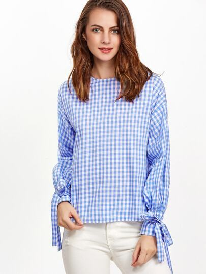 Blue And White Gingham Tie Sleeve Button Back Blouse