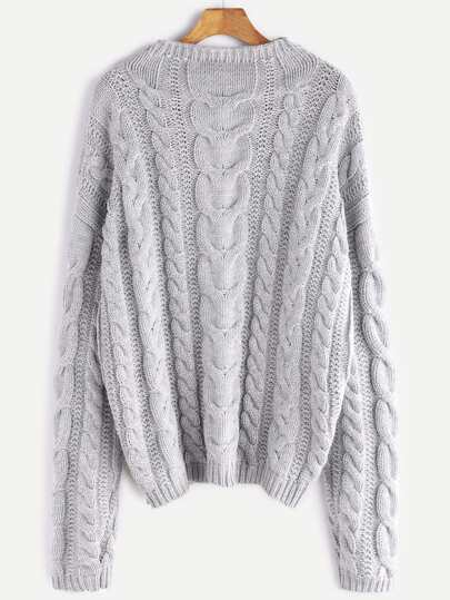 Grey Funnel Neck Cable Knit Chunky Sweater