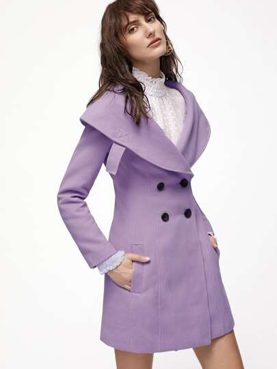 Purple Wide Shawl Collar Double Breasted Princess Coat