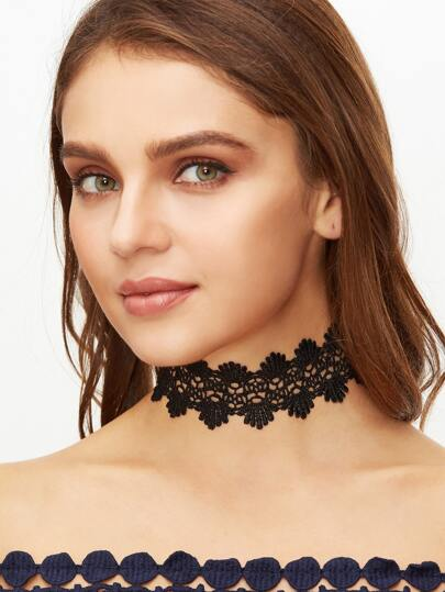 Black Lace Hollow Out Statement Choker Necklace