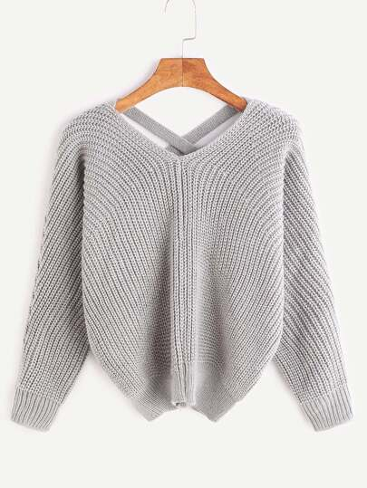 Grey Double V Neck Criss Cross Sweater