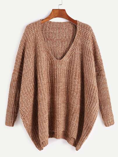 Khaki Marled Knit Drop Shoulder Sweater