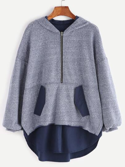Blue Marled Knit Half Zip Drop Shoulder Curved Trim Hoodie