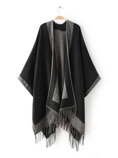 Чёрно-контрастный длинный шарф шалью с бахромой