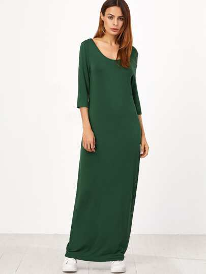 Green Double Scoop Neck 3/4 Sleeve Maxi Cocoon Dress