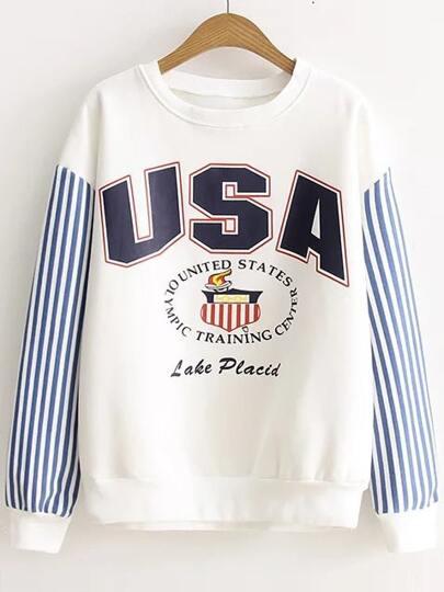 White Letter Print Striped Sleeve Sweatshirt