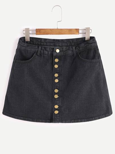 Black Single Breasted Denim Skirt