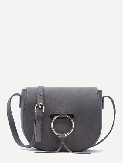 Grey Nubuck Leather Metal Ring Flap Saddle Bag