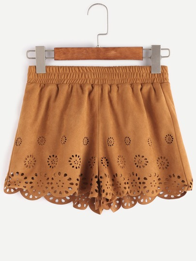 Shorts en suede à lacet découpe festonné -brun clair