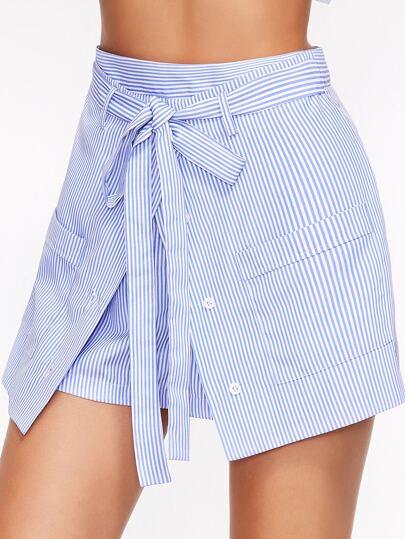 Short à rayure avec bouton et ceinture - bleu