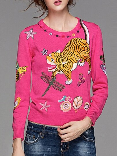 Hot Pink Dragonfly Tiger Embroidered Sweater