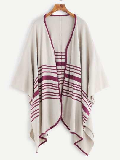 Veste poncho motif à rayure contrasté - abricot