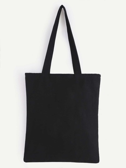 Double Layer Black Plain Canvas Tote Bag