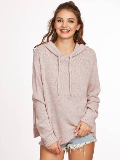 Pink Ribbed Trim Side Slit Hooded Sweater