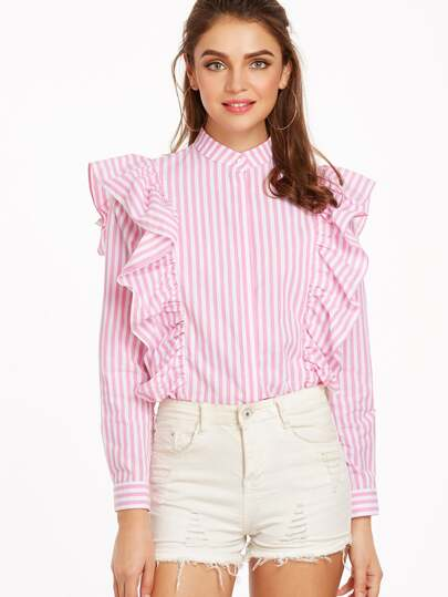 Vertical Striped Hidden Button Frill Blouse