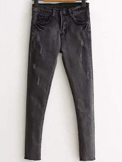 Skinny Jeans Schnittkante-grau