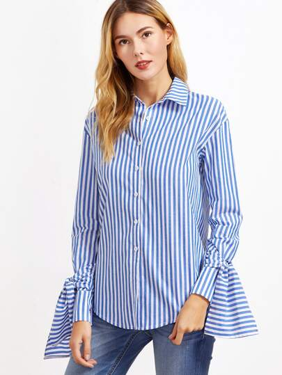 Blue And White Vertical Striped Tie Sleeve Blouse