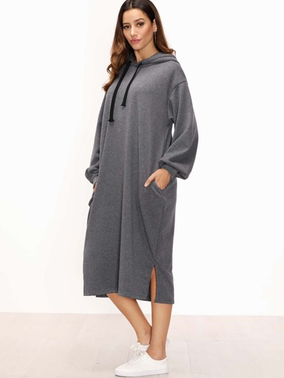 Grey Split Side Drawstring Hooded Sweatshirt Dress