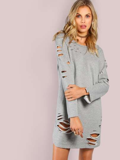 Long Sleeve Grunge Tunic Dress GREY
