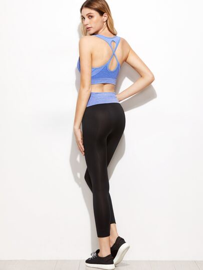 Blue Criss Cross Back Sport Tank Top With  Leggings