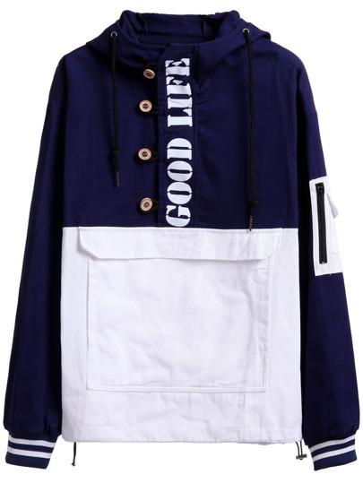 Sudadera con capucha y estampado de letras - azul marino