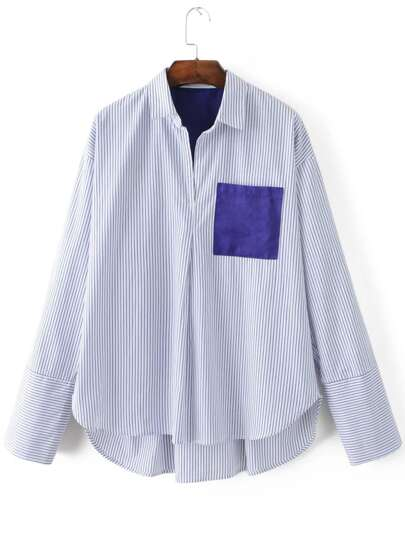 White Vertical Striped Dip Hem Blouse With Pocket