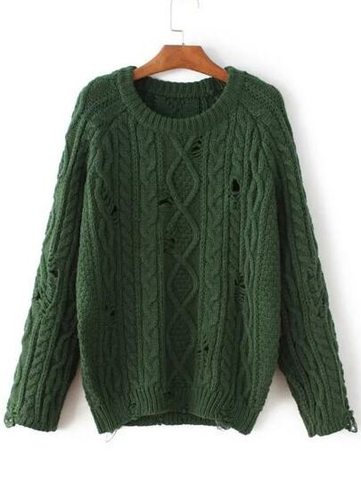 Green Cable Knit Ripped Raglan Sleeve Sweater