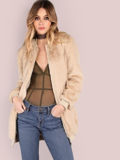 Champagne Ribbed Trim Zip Up Longline Silky Bomber Jacket