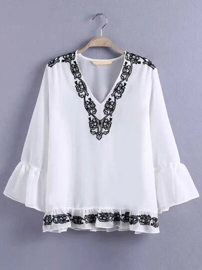 White V Neck Bell Sleeve Embroidered Ruffle Blouse