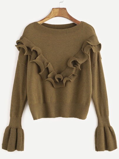Khaki Drop Shoulder Bell Sleeve Ruffle Trim Sweater