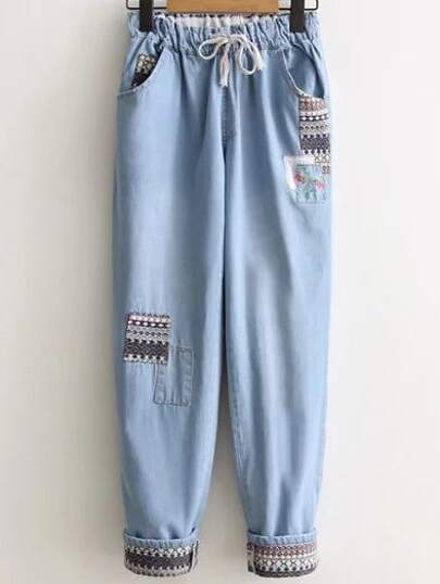 Roll Cuff Tribal Pattern Drawstring Denim Pants