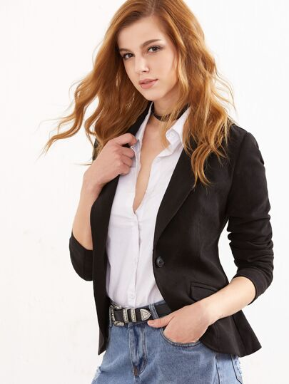 Black Suede Shawl Collar One Button Fitted Blazer