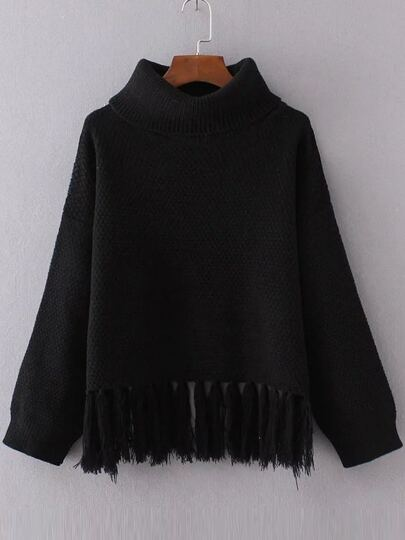 Black Turtleneck Drop Shoulder Fringe Hem Sweater