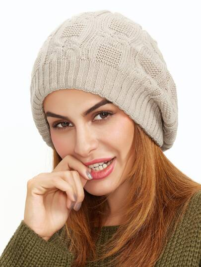Beige Cable Textured Knit Beanie Hat
