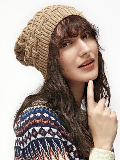 Khaki Ribbed Knit Textured Warm Hat