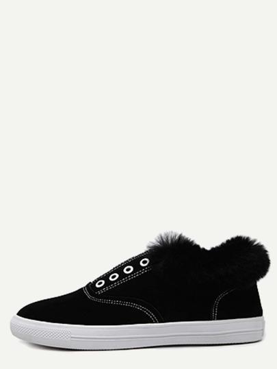Chaussures à semelle caoutchouc en suédine et fourrure - noir