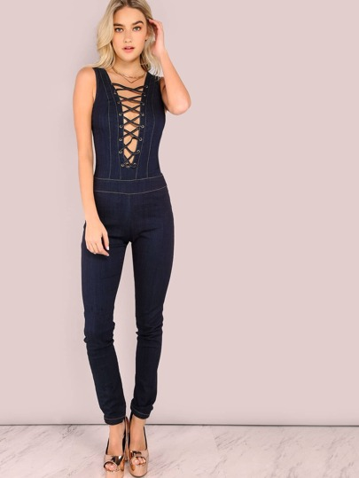 Sleeveless Lace Up Skinny Denim Jumpsuit DENIM
