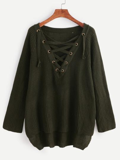 Pullover mit Holen Design Schnüren Vorne Kurz Hinten Lang-dunkel grün