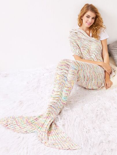 Multicolor Crocheted Hollow Out Mermaid Blanket