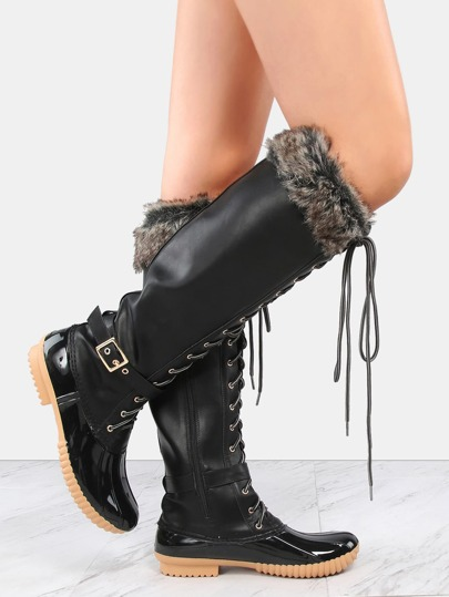 Faux Fur Trim Duck Knee Boots BLACK