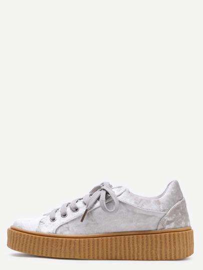 Cruhed Velvet Platform Sneakers GREY