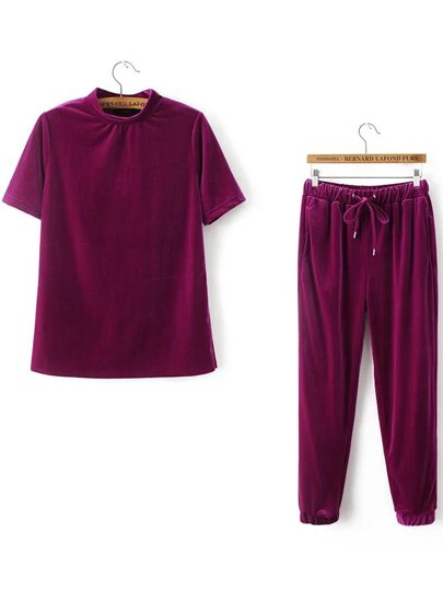 Short Sleeve Velvet Tee With Drawstring Pants