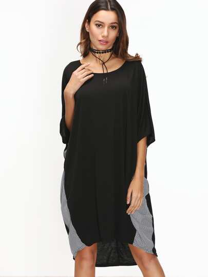 Black Contrast Striped Dolman Sleeve Dip Hem Dress