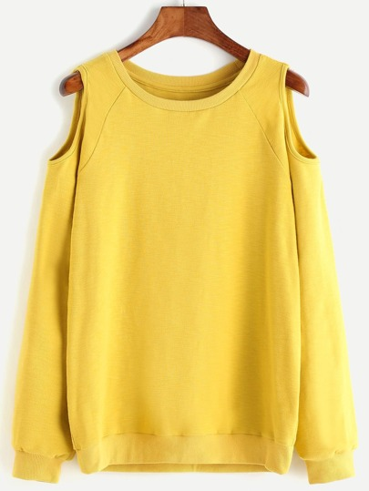 Yellow Cutout Raglan Sleeve Sweatshirt