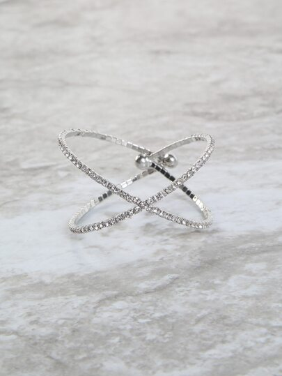 Bejeweled Criss Cross Bangle SILVER