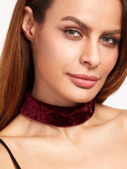 Collier en velours avec lacet au dos - bordeaux rouge