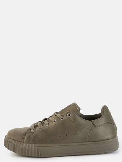 Faux Suede Textured Sole Sneakers KHAKI