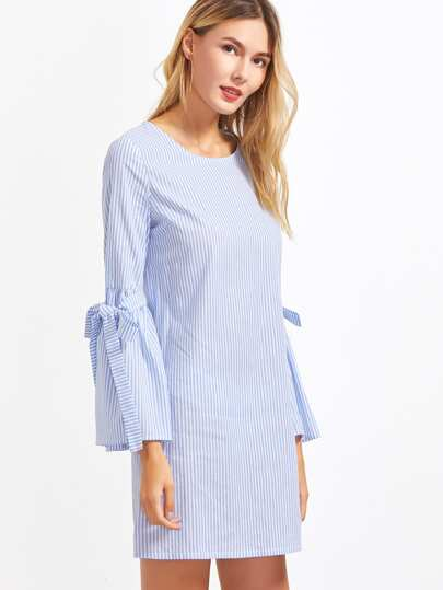 Blue And White Vertical Striped Belted Bell Sleeve Dress
