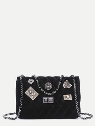 حقيبة سلسلة أسود مزين يشبه الصندوق مبطن CROSSBODY